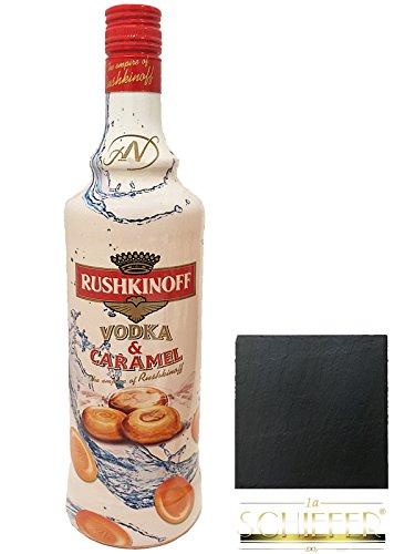 Rushkinoff Vodka & Caramel 0,7 Liter + 1 Schieferuntersetzer