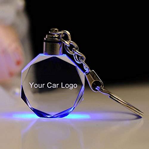 YMJSU Chain Car Logo, Glow Key Chain, Anhänger Key Chain, Led Cut Glas Schlüsselbund, Hang Key Ring, Metall Werbung Schwänze, Auto Logo mit Geschenkbox Foraudi