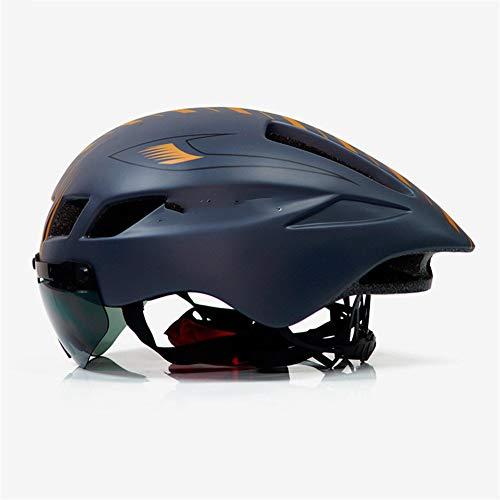 TSAUTOP Bicycle Helmet Men Casco Ciclismo Road MTB Mountain Bike Triathlon Tt Cycling Helmet Lens Goggles Equipe Capacete Da Bicicleta (Color : White Black 3)