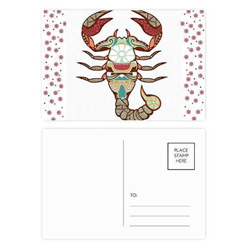 Scorpio sterrenbeeld Zodiac Symbool Kerstmis Bloem Postkaart Thanks Card Versturen 20 stks