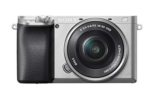 Sony Alpha 6100 E-Mount Systeemcamera, 24 megapixels, 4K video, 180° touchscreen, 0.02 sec. Real-time autofocus met 425 contrast AF-punten, OLED-zoeker, incl. SEL-P1650-objectief zilver