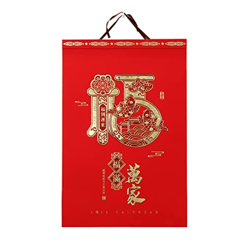 2022 Chinese Wall Calendar, 2022 Chinese Year of The Tiger Wall Calendar, Chinese Calendar Monthly Planner for Home Decor(Color:A)