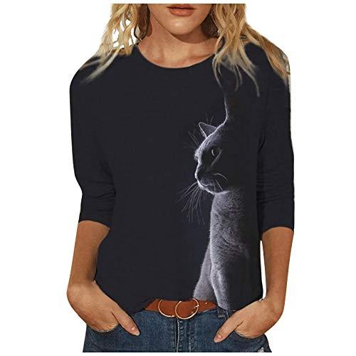 Xmiral Katze Gedruckt Pullover für Damen Lässige Langarm O-Neck Tops Bluse Schwarzes T-Shirt Sweatshirt(Schwarz 2,4XL)