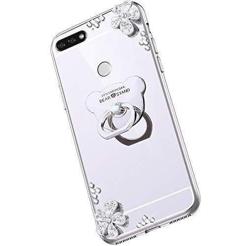 Saceebe Compatible avec Huawei Honor 7C Coque Élégant Bling Bling Housse Clear View Miroir Coque Brillante Diamant Paillette Strass Silicone TPU Étui Rotation Bague Support,Argent