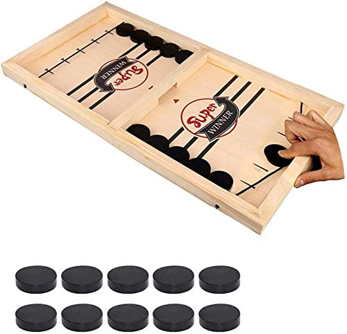 Fast Sling Puck Game – Hockey Wooden Games for Kids and Adults 145 x 85 inch Wooden Hockey Table Game for Family Fun – EcoFriendly Game for Skill Development –Sports Battle Board Games Small