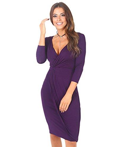 KRISP Abito Donna Elegante Scollo V Fashion Moderno Taglie Forti Sexy Cocktail Curvy Maniche 3 4 Corto Vestito, Viola (6174), 52 EU (20 UK), 6174-PUR-20