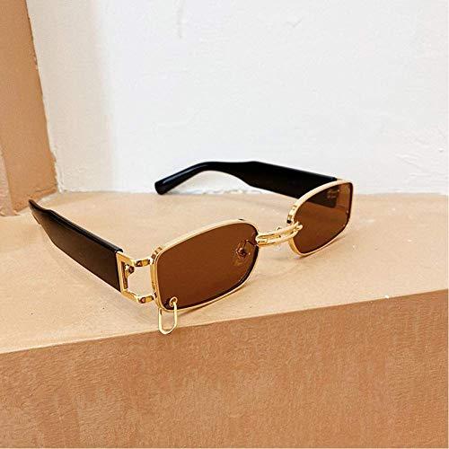 WMYATING Gafas de sol, ojos, a prueba de luz y a prueba de tormentas de arena, popular moda pequeño rectángulo mujeres gafas de sol vintage punk hombres gafas de sol sombras Uv400 (color: té dorado)