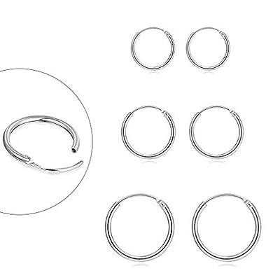 Sterling Silver Hoop Earrings for Women Men Girls, Hypoallergenic Cartilage Earring Endless Small Hoop Earrings Set, 3 Pairs Tragus Earrings (8mm/10mm/12mm)