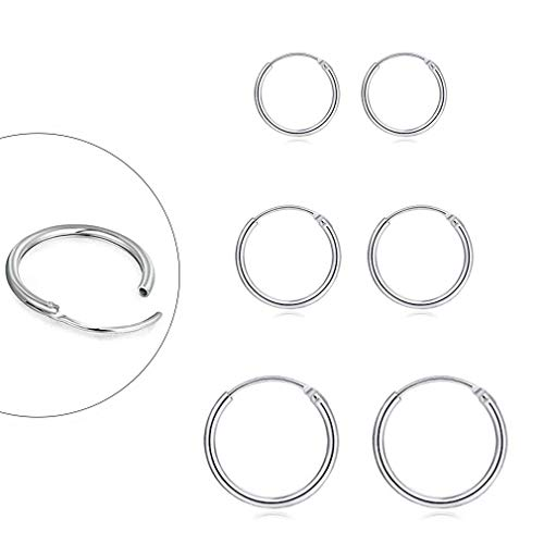 Sterling Silver Hoop Earrings for Women Men Girls, Hypoallergenic Cartilage Earring Endless Small Hoop Earrings Set, 3 Pairs Tragus Earrings (8mm/10mm/12mm)