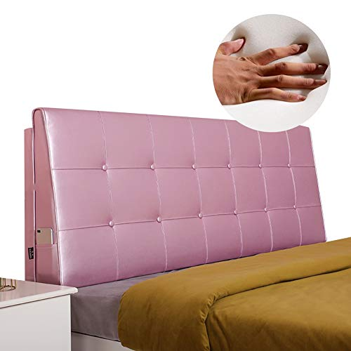KKCF-Headboard Cushion, Bed Double Big Back Washable PU Bamboo Charcoal Sponge Anti-Collapse Bedroom,Size Customizable (Color : Princess Powder, Size : 150x62x13cm)