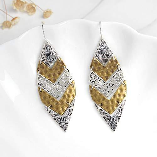 BLINGBRY oorbellen met bladvorm, geometrisch kruis, zilverkleurig, antiek, Etniee oorbellen Vintage Chic damessieraad