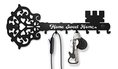 Soporte para llaves de pared Sweet Home (7 ganchos) Decorativo, colgador de metal para puerta delantera, cocina o garaje | Tienda de casa, trabajo, coche, llaves de vehículo | Decoración vintage