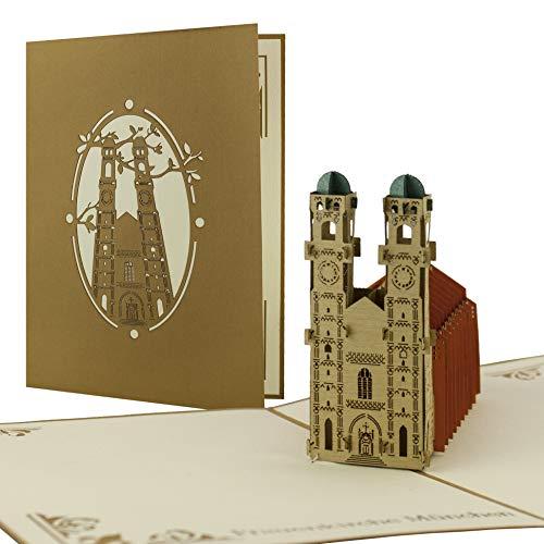Gutschein für Reise nach München verschenken, München Ausflug, Frauenkirche München, Souvenir, schöne Pop-Up Karte A08