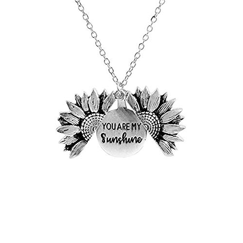 You are My Sunshine Chain Necklace Sunflower Locket Necklace Engraved Necklace Gift for Jewelry Fashion