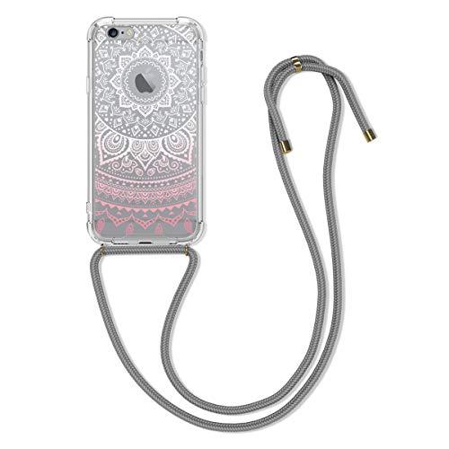 kwmobile Hülle kompatibel mit Apple iPhone 6 / 6S - Silikon Handyhülle mit Kette - Rosa Weiß Transparent Indische Sonne