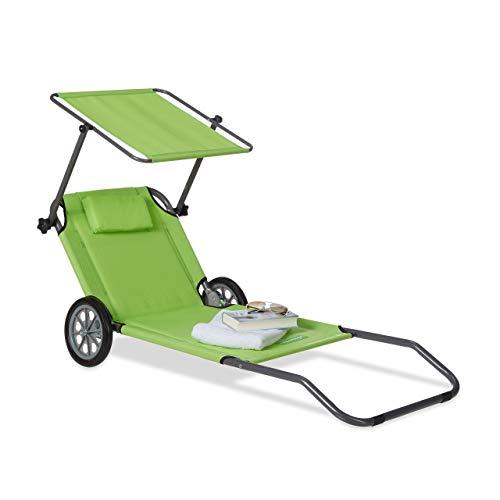 Relaxdays Strandliege mit Rollen, Sonnenliege klappbar, mit Sonnendach, verstellbare Rückenlehne, bis 120 kg, grün