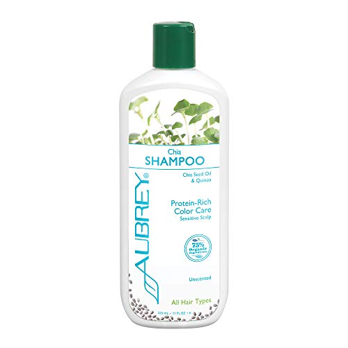 Aubrey Chia Shampoo | Protein Rich Color Care | Chia Seed Oil & Quinoa | 75% Organic Ingredients | All Hair Types | Unscented, Sensitive Scalp | 11oz
