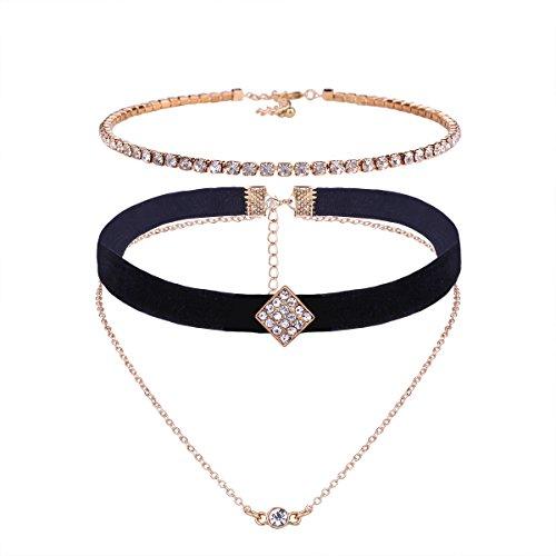 YAZILIND Multicapa Collar Negro Terciopelo Gargantilla Cubic Zirconia Oro Enlace Colgante Collar...