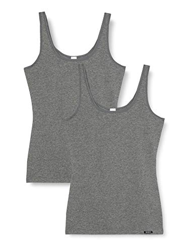 Skiny Damen Advantage Cotton Tank Top 2er Pack Unterhemd, Grau (Anthra Melange 9599), 38