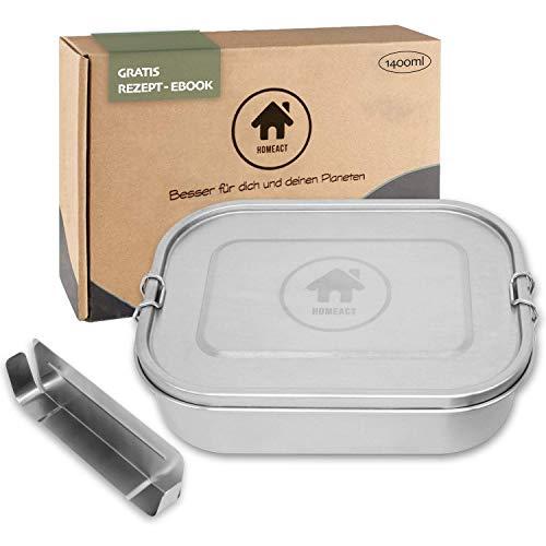 homeAct Premium Edelstahl Brotdose auslaufsicher 1400ml inkl. Flexibler Trennwand | inkl. Rezept E-Book | Frischhaltedose für Kinder & Erwachsene