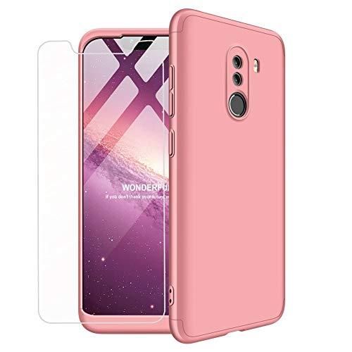 MLOTECH Funda para Xiaomi Pocophone F1, Carcasas + Cristal Templado PC Hard Case 360 Grados Slim Fit Mate Anti-Shock Anti-Rasguño Protectora Cubierta-Oro Rosa