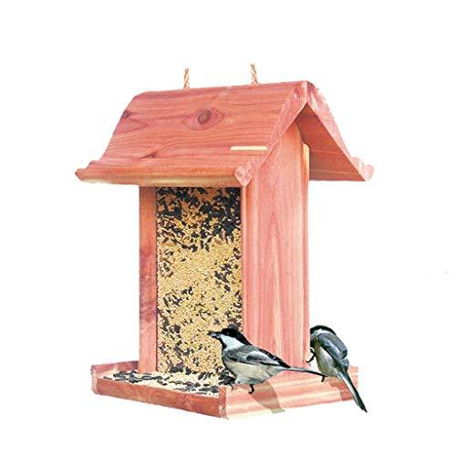 LUNAH Bird Feeder With Wall Bracket, Wooden Bird Table Garden Birdhouse Feeder Sheltered Feeding Station