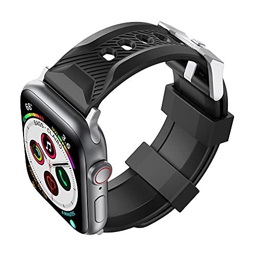 CHENPENG Bandas de Silicona para Reloj Inteligente compatibles con Apple Watch Series SE / 6/5/4/3/2/1, muñequeras Deportivas de Silicona Suave, Correa de Repuesto para Mujeres y Hombres,Negro,40mm