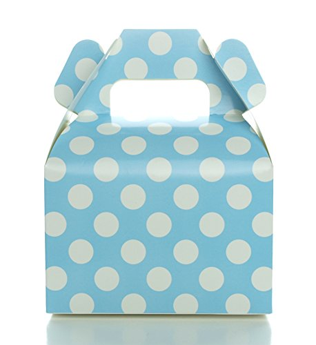 Food with Fashion Light Blue Candy Boxes, Baby Blue Polka Dot Favor Gift Box (12 Pack) - Candy Buffet Treat Boxes, Wedding Dessert Table Supplies, Small Birthday Gift Box