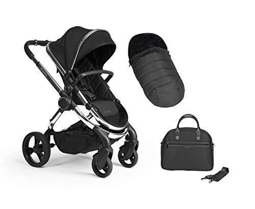 Icandy Peach Chrome Black Twill Pushchair, Carrycot Set with Bag & Duo Pod IC2386