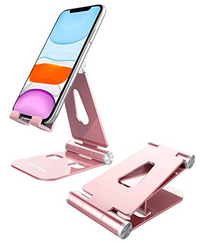 "Cell Phone Stand, Lucrave Updated Adjustable Desktop Phone Holder Cradle,Fully Foldable, Compatible with All Phones Android and iPhone 11 Max Xs Xr 8 7 Plus, iPad Mini, Tablets(7-10"")-Rose Gold"