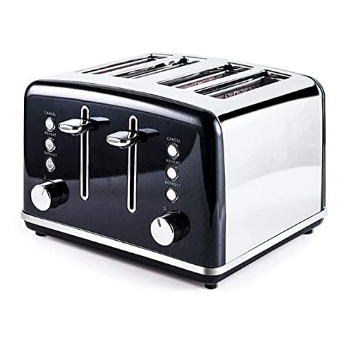 ZHBH Tostadoras Tostadora de 4 rebanadas Máquina de Desayuno con Funciones de descongelación y cancelación de recalentamiento congelado Bandeja de Migas extraíble 3 Funciones