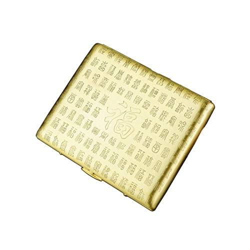 ShiSyan Caso de cigarrillos, cigarrillos caso portátil, caso de cigarrillos regalo creativo de los hombres, puede sostener cigarrillos (18), es el for los fumadores, tamaño 7.8 * 8.8 * 1.0 cm, Oro, an