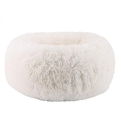 "BODISEINT Modern Soft Plush Round Pet Bed for Cats or Small Dogs, Mini Medium Sized Dog Cat Bed Self Warming Autumn Winter Indoor Snooze Sleeping Cozy Kitty Teddy Kennel (S(19.7""Dx7.9 H, White)"