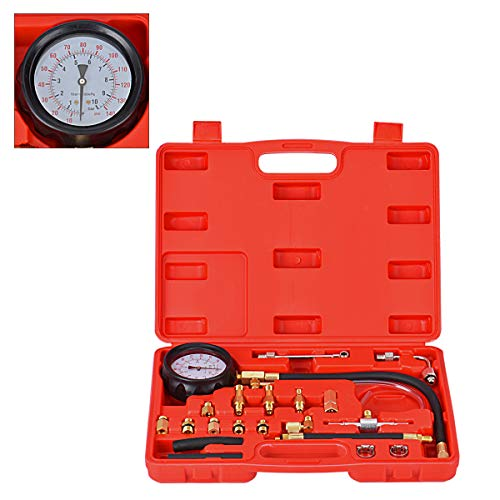 0-140PSI Auto Fuel Injection Pump Pressure Tester Gauge Kit for Cars Trucks Vehicles Engine (Red)