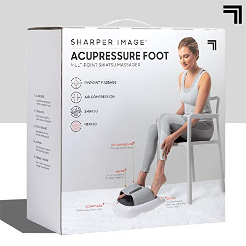 SHARPER IMAGE Acupoint Acupressure Foot Massager Machine – w/ Acupressure, Heat, Compression, & Vibration for The Best Foot Massage – Shiatsu Kneading on Arch, Soothing Heat for Sore & Tired Muscles