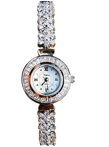 CHXISHOP Frauen Armbanduhr Retro Uhr Quarzbewegung Studentenuhr Einfache Casual Full Rhinestone Armbanduhr