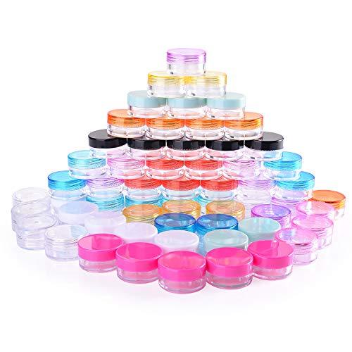 60 Pezzi Contenitori Cosmetici, 5g Vasetti Barattolo di Plastica Vuoto Contenitore Cosmetico, 12 Colori, per Creme, Campione Make-up