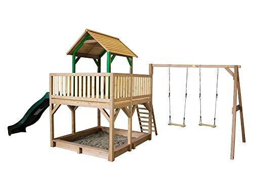 Beauty.Scouts Holzspielhaus Tafil mit Veranda + Leiter + Rutsche + Sandkasten + 2X Schaukel 277x613x291cm Holz Kinder Kinderspielhaus Holzhaus Stelzenhaus Unterstand