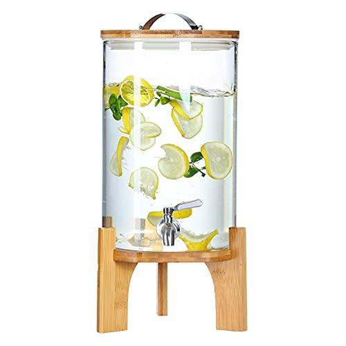 Dispensador de Bebidas con Soporte y Grifo, Dispensador de Limonada para Exterior Picnic Parilla, Casa Dispensador de Zumo a Prueba de Fugas con Tapa Hermética