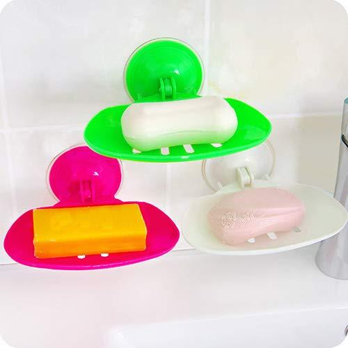 Gemini_mall® Lot de 3 porte-savon à ventouse super puissante à fixer au mur pour salle de bain, douche, boîte de rangement en plastique, couleur aléatoire