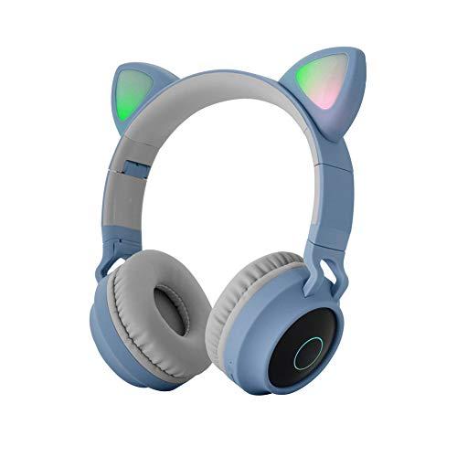 XHJZ-W Cuffie, Simpatici Auricolari per Gatto Auricolari Bluetooth 5.0, Auricolari Stereo Stereo on-Ear Pieghevoli con Luce a LED per Microfono,E
