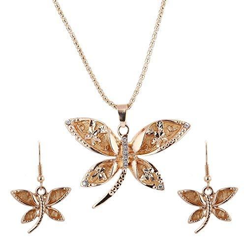 Conjuntos de joyería de moda para la boda Zircon libélula colgante collar pendientes rosa oro color nupcial conjuntos de joyería para las mujeres