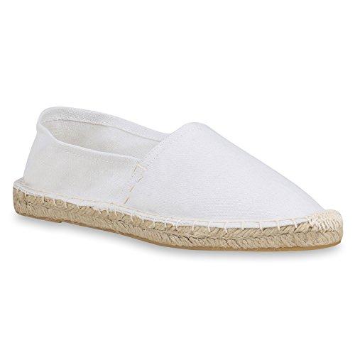 stiefelparadies Damen Slippers Espadrilles Bast Slip Ons Stoffschuhe Flats Schuhe 158690 Weiss Bast 36 Flandell