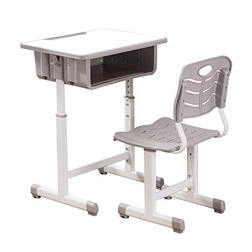 Kids Desk and Chair Set,Height Adjustable Ergonomic Children Sturdy Table w/Drawer Storage,Pen Groove,Handy Hook (Grey)