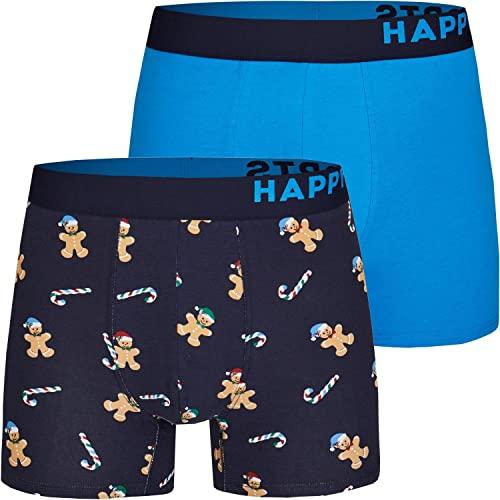 Happy Shorts 2 Pants Jersey Trunk Herren Boxershorts Boxer Motiv Lebkuchenmann Gingerbread Man, Grösse:XL, Präzise Farbe:Design 1
