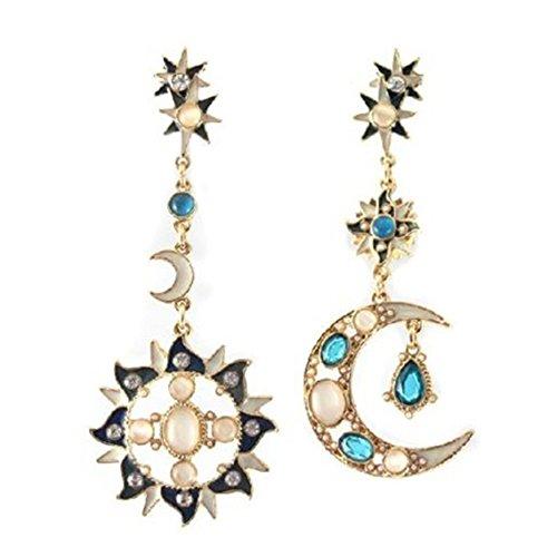 Amesii Pendientes de rosca con cristales de estrás, diseño de estrella, sol y luna