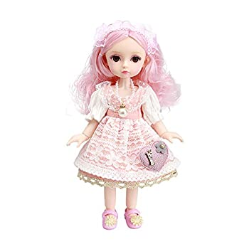 Little Bado Girls 1/6 SD BJD Doll 10 Inch 13 Removable Joints Dolls for Age 3+Year Old Girls Dolls Kids Dolls for Baby Cute Doll Toy with Clothes and Shoes Birthday Gift for Girls Pink Hair Emily
