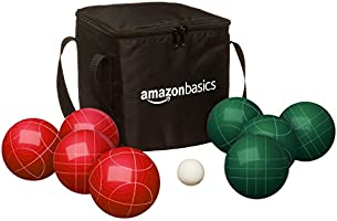 Amazon Basics Millimeter Bocce Ball Outdoor Yard Games Set Soft Carrying 8 90 Red Green