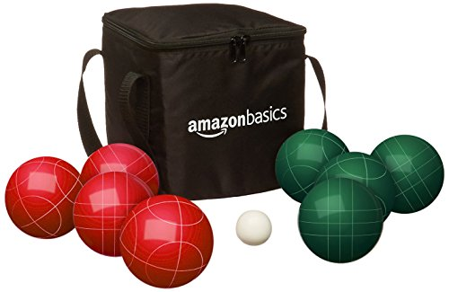 Amazon Basics 90 Millimeter Bocce Ball Outdoor Yard Games Set with Soft Carrying Case-2 to 8 players ,Red and Green