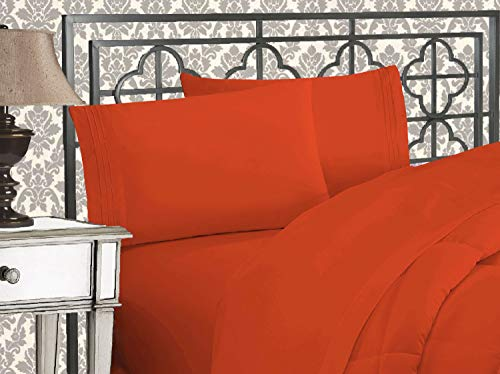 Elegant Comfort Luxurious 1500 Thread Count Egyptian Three Line Embroidered Softest Premium Hotel Quality 3-Piece Bed Sheet Set, Wrinkle and Fade Resistant, Twin XL, Rust
